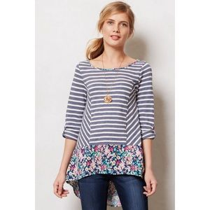 Anthropologie Fairly Striped Floral Tunic